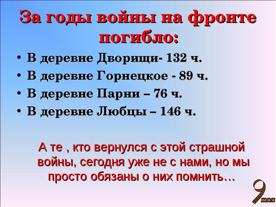 За годы войны на фронте погибло: В деревне Дворищи- 132 ч. В деревне Горнецко...