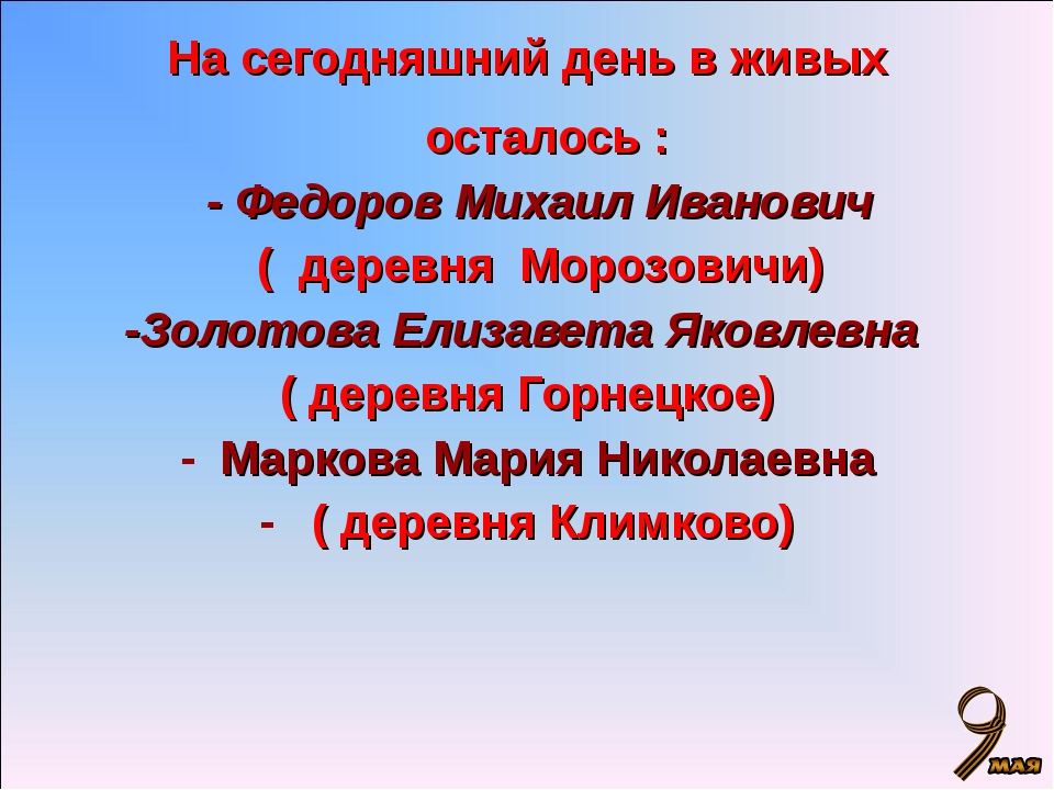 На сегодняшний день в живых осталось : - Федоров Михаил Иванович ( деревня Мо...