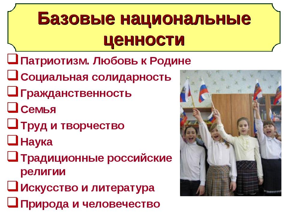 Базовые национальные ценности Патриотизм. Любовь к Родине Социальная солидарн...