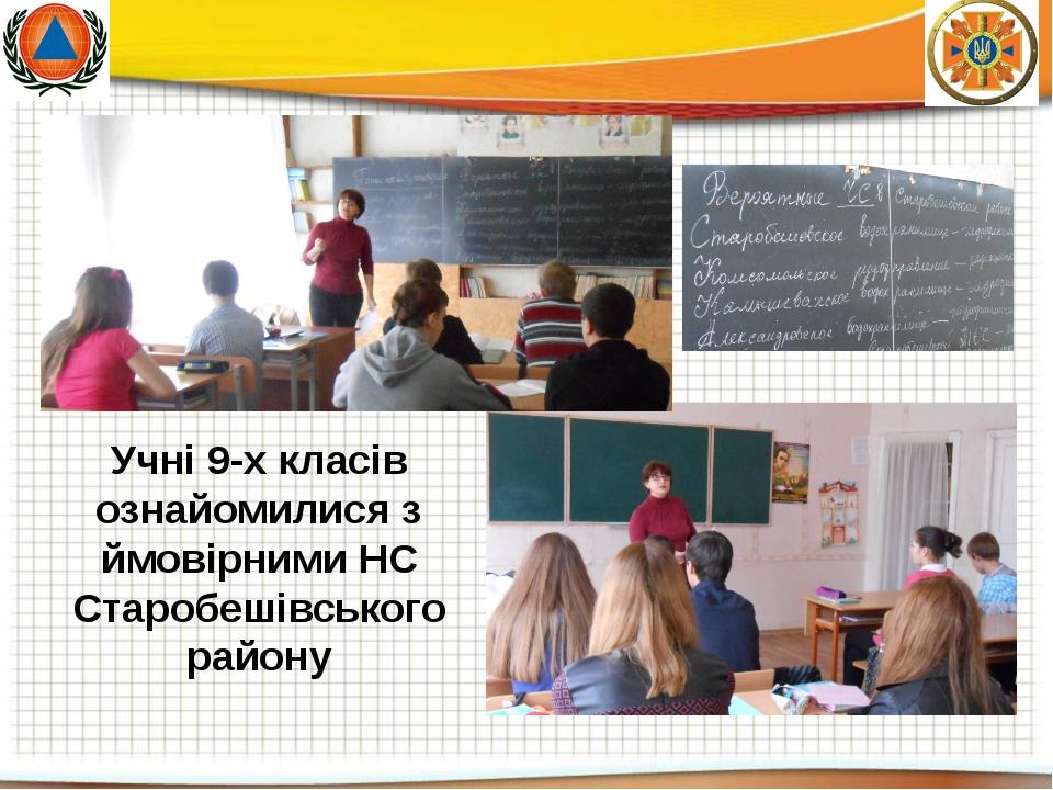 Учні 9-х класів ознайомилися з ймовірними НС Старобешівського району