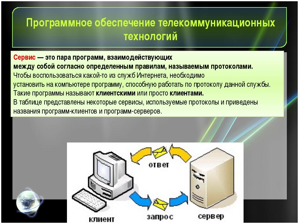 Программное обеспечение телекоммуникационных технологий Cервис — это пара про...