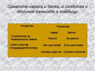 Сравните овраги и балки, а сходства и отличия занесите в таблицу: Сходство Ра