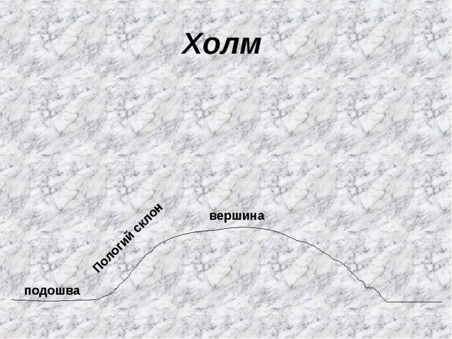 Холм подошва Пологий склон вершина