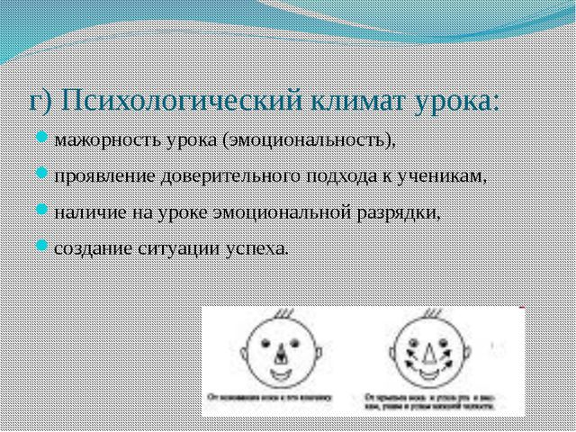 г) Психологический климат урока: мажорность урока (эмоциональность), проявлен...