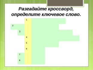 Разгадайте кроссворд, определите ключевое слово. 1 2 3
