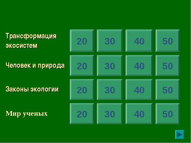 20 30 40 50 20 20 20 30 30 30 40 40 40 50 50 50 Трансформация экосистем...