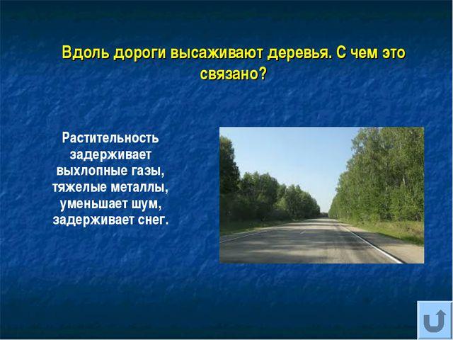 Вдоль дороги высаживают деревья. С чем это связано? Растительность задерживае...