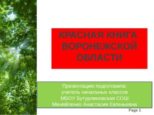 КРАСНАЯ КНИГА ВОРОНЕЖСКОЙ ОБЛАСТИ Презентацию подготовила: учитель начальных
