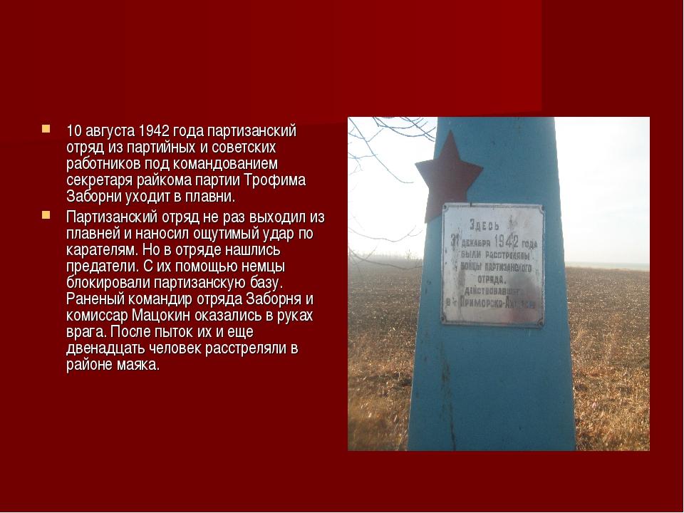 10 августа 1942 года партизанский отряд из партийных и советских работников п...