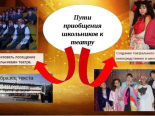 Пути приобщения школьников к театру Организовать посещение школьниками театр