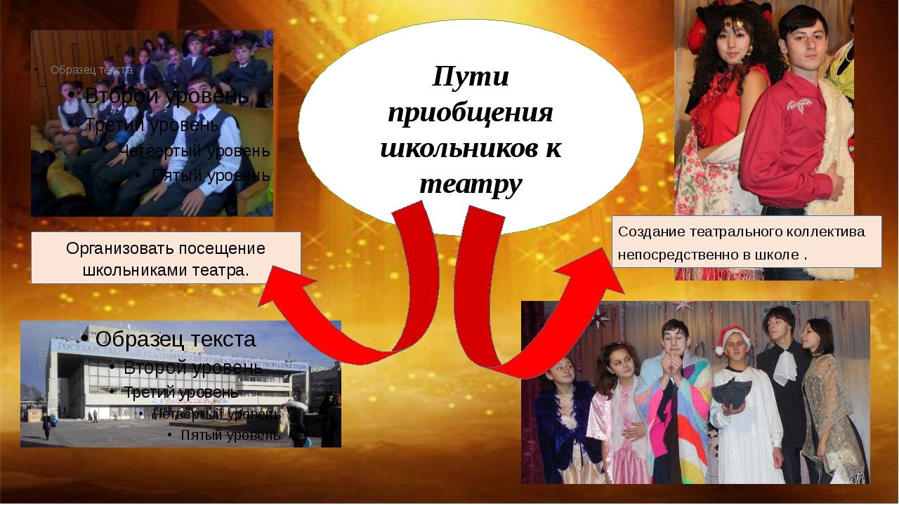 Пути приобщения школьников к театру Организовать посещение школьниками театр...