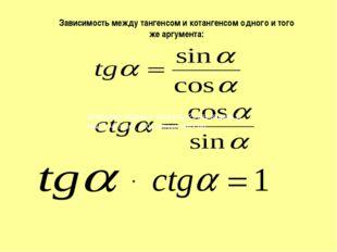 Зависимость между тангенсом и котангенсом одного и того же аргумента: Домашне