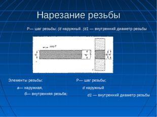 Нарезание резьбы Р— шаг резьбы; (d наружный. (d1 — внутренний диаметр резьбы