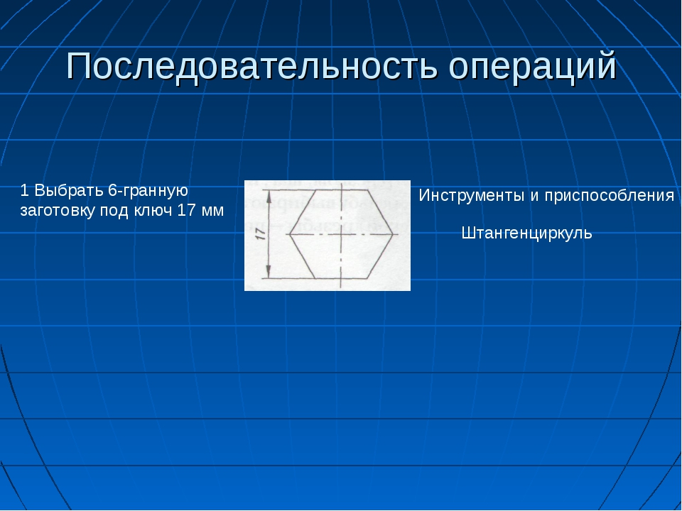 Последовательность операций 1 Выбрать 6-гранную заготовку под ключ 17 мм Инст...
