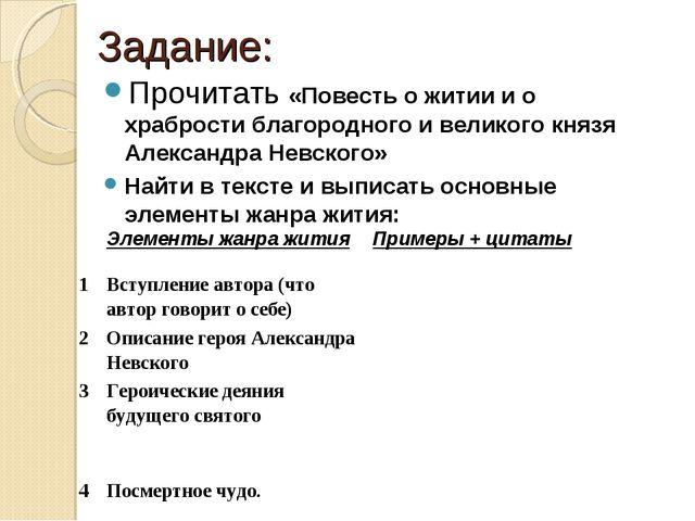 Задание: Прочитать «Повесть о житии и о храбрости благородного и великого кня...