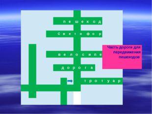 пешеход С в е т офор в е л ос ипед дорог а Часть дороги для передвижения пеш