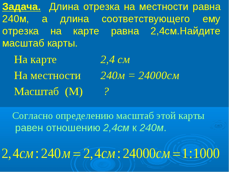 Задача. Длина отрезка на местности равна 240м, а длина соответствующего ему о...