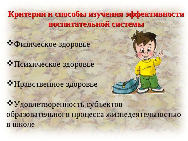 Критерии и способы изучения эффективности воспитательной системы Физическое з...