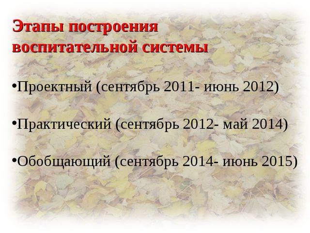 Этапы построения воспитательной системы Проектный (сентябрь 2011- июнь 2012)...