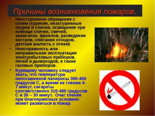 МБОУ «Анновская СОШ» Причины возникновения пожаров. Неосторожное обращение с...