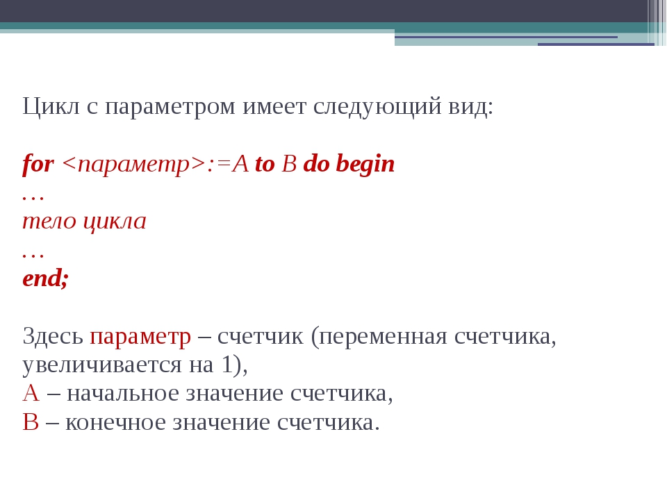 Цикл с параметром имеет следующий вид: for :=A to B do begin … тело цикла … e...
