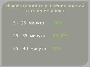 Эффективность усвоения знаний в течение урока 5 - 25 минута 80% 25 - 35 минут