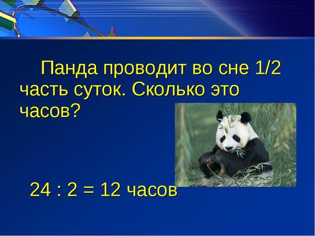 Панда проводит во сне 1/2 часть суток. Сколько это часов? 24 : 2 = 12 часов