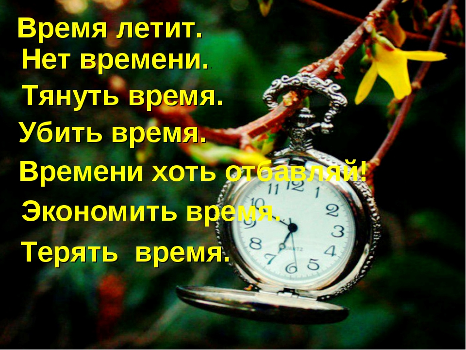 Время летит. Нет времени.. Тянуть время. Убить время. Времени хоть отбавляй!...