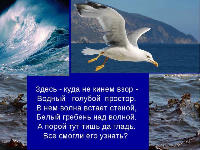 Здесь - куда не кинем взор - Водный голубой простор. В нем волна встает стено...