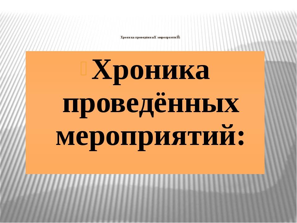 Хроника проведённыХ мероприятиЙ: Хроника проведённых мероприятий:
