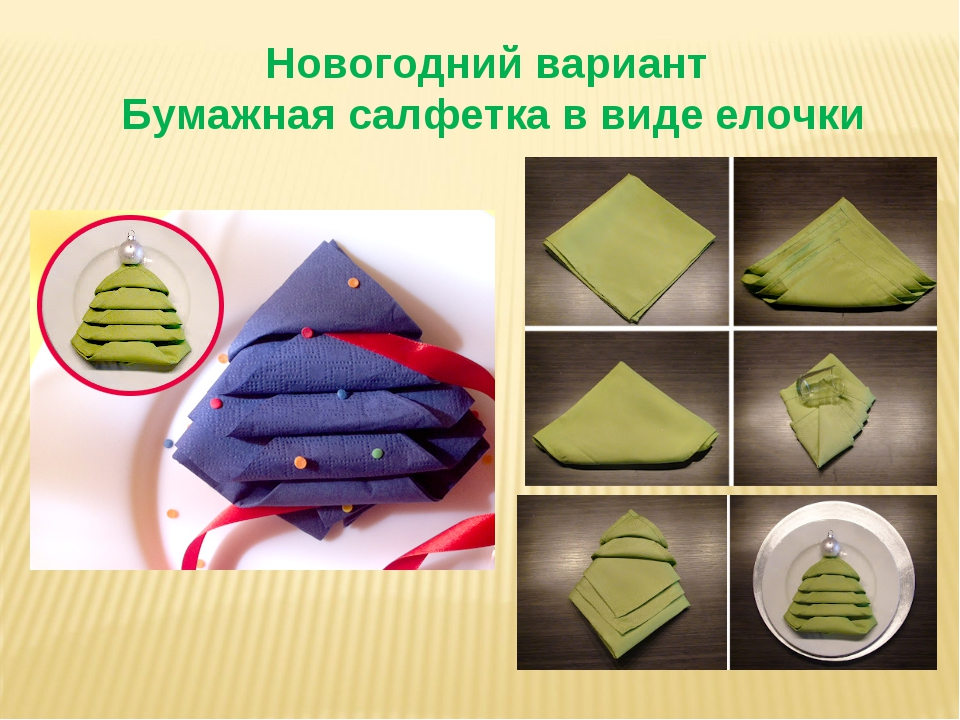 Новогодний вариант Бумажная салфетка в виде елочки