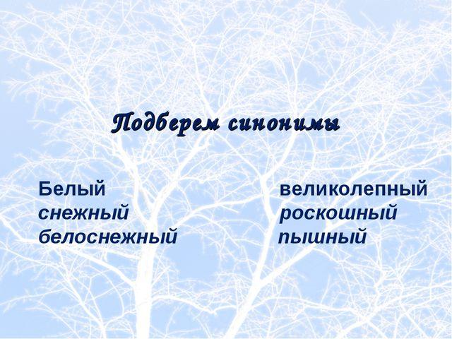 Белый великолепный снежный роскошный белоснежный пышный Подберем синонимы