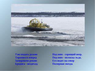Над ним - горящий веер, Под ним - полоска льда, Его ведет на север Полярная з