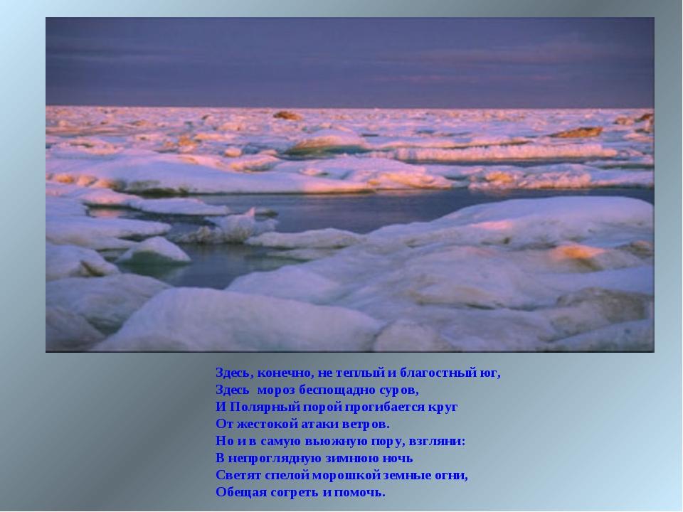 Здесь, конечно, не теплый и благостный юг, Здесь мороз беспощадно суров, И По...