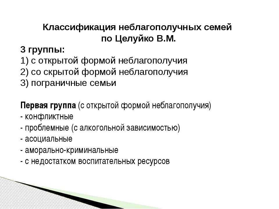 Классификация неблагополучных семей по Целуйко В.М. 3 группы: 1) с открытой...
