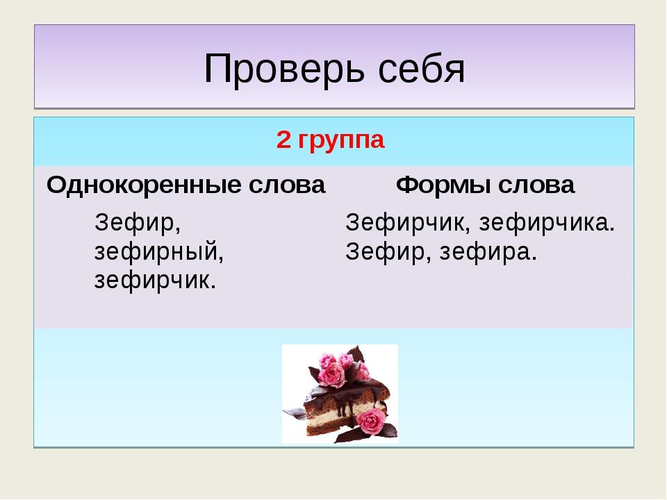 Проверь себя 2 группа Однокоренные словаФормы слова Зефир, зефирный, зефирчи...