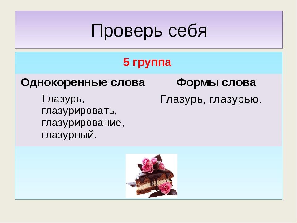 Проверь себя 5 группа Однокоренные словаФормы слова Глазурь, глазурировать,...