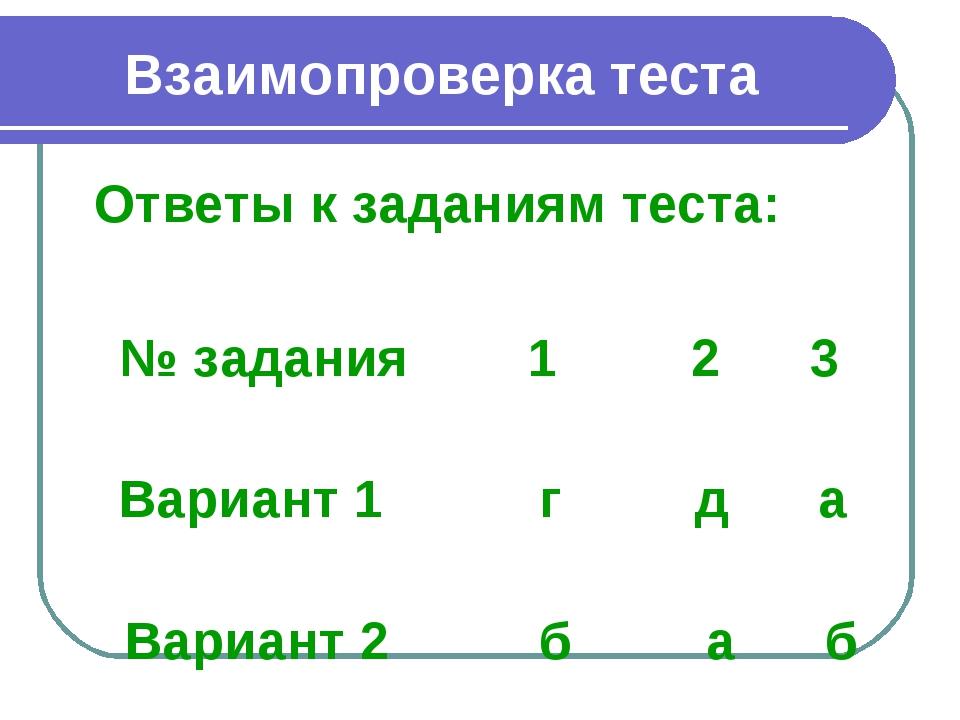 Взаимопроверка теста Ответы к заданиям теста: № задания 1 2 3 Вариант 1 г д...