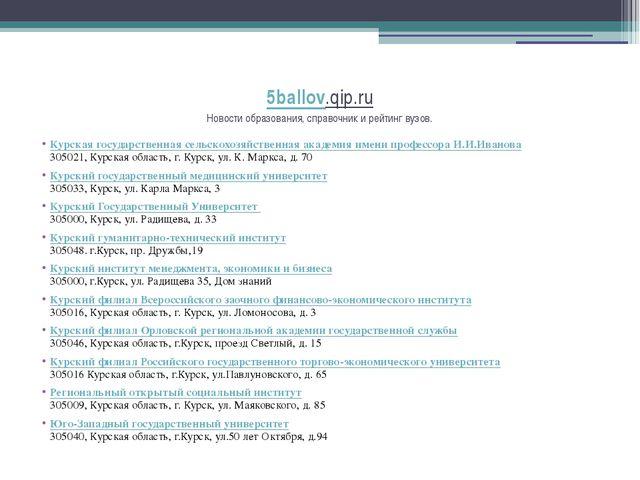 5ballov.qip.ru Новости образования, справочник и рейтинг вузов. Курская госуд...