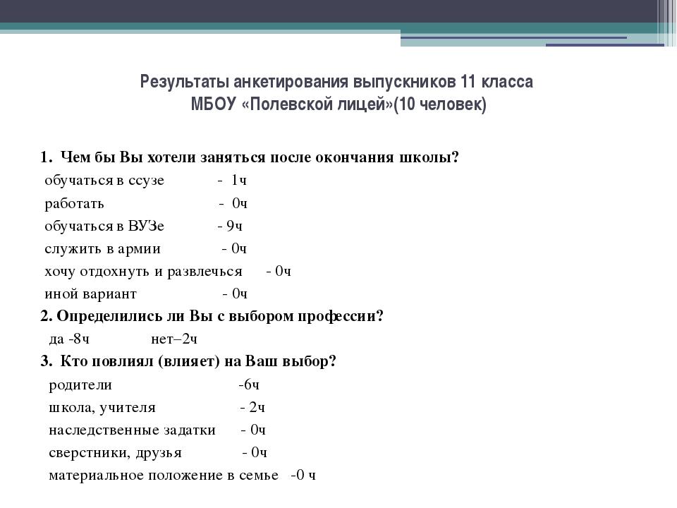 Результаты анкетирования выпускников 11 класса МБОУ «Полевской лицей»(10 чело...