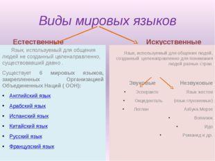 Виды мировых языков Естественные Язык, используемый для общения людей не созд