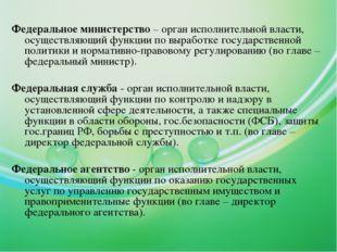 Федеральное министерство – орган исполнительной власти, осуществляющий функци