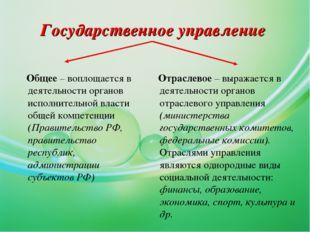Государственное управление Общее – воплощается в деятельности органов исполни