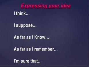 I think… I suppose… As far as I Know… As far as I remember… I'm sure that… Ex