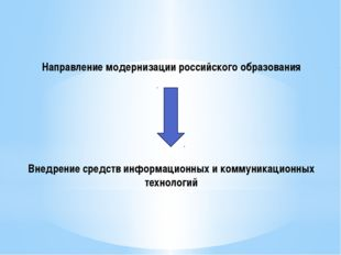 Направление модернизации российского образования Внедрение средств информацио