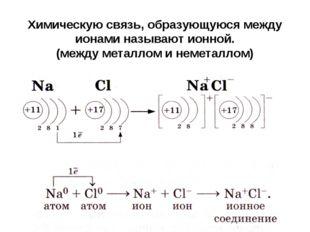 Химическую связь, образующуюся между ионами называют ионной. (между металлом