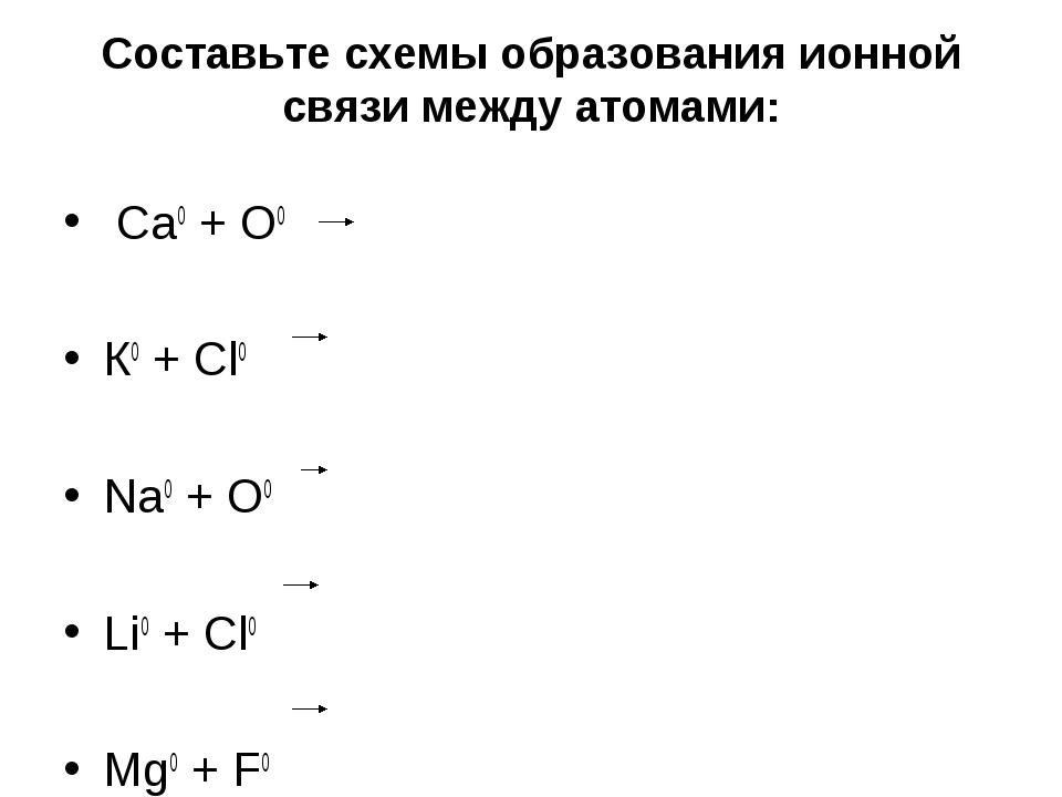 Составьте схемы образования ионной связи между атомами: Ca0 + O0 К0 + Сl0 Na0...