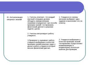 III. Актуализация опорных знаний1. Учитель отмечает, что каждый научный сотр