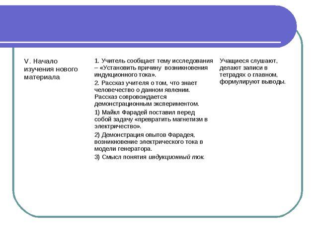 V. Начало изучения нового материала1. Учитель сообщает тему исследования – «...