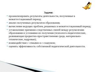 Задачи: проанализировать результаты деятельности, полученные в межаттестацион